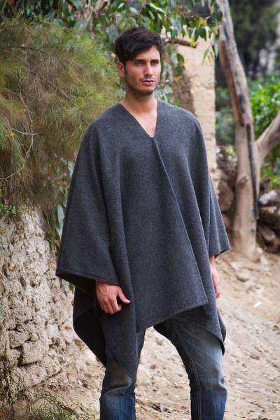 Unicef Market V Neck Poncho For Men Artisan Crafted In