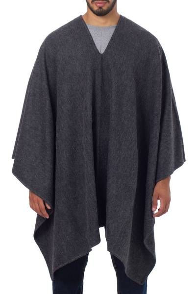 V-neck Poncho for Men Artisan Crafted in Peru