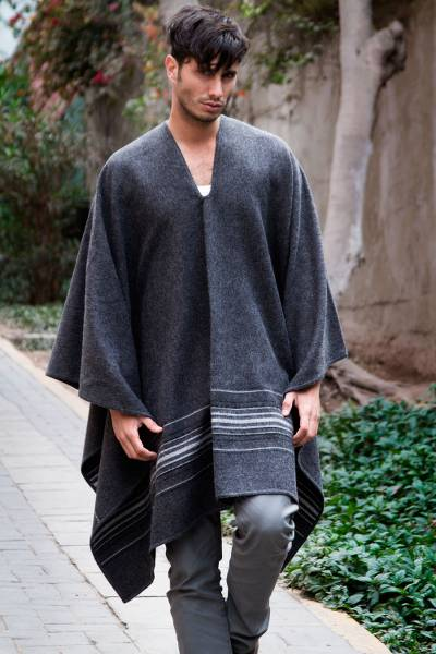 Men's alpaca blend poncho, 'Gray Nazca' - Warm Men's Alpaca Blend Poncho with V-neck from Peru
