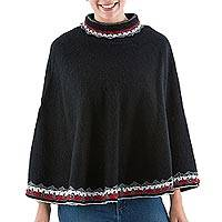 Alpaca blend poncho, 'Wari Splendor in Black' - Turtleneck Alpaca Poncho from Peru