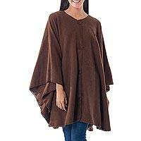 Alpaca blend cloak, 'Lima Glam' - Alpaca Wool Blend Cloak from Peru