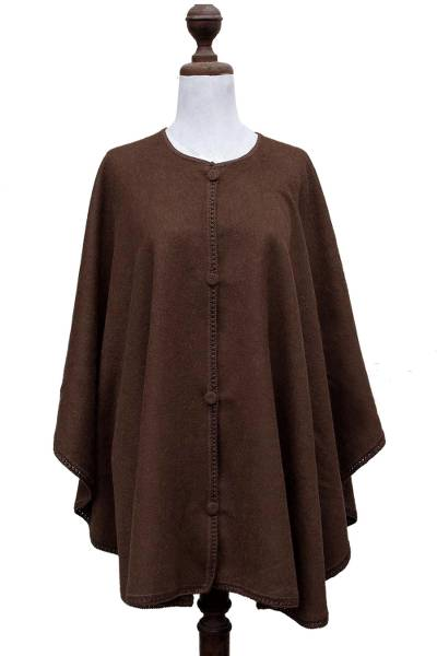 Alpaca blend cloak, 'Lima Glam' - Button-down Cloak in Chocolate Brown from Peru