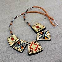 Ceramic pendant necklace, 'Paracas Secrets' - Painted Ceramic Pre-Hispanic Necklace