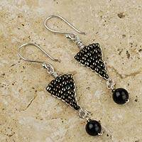 Obsidian dangle earrings, 'Andean Sophistication'