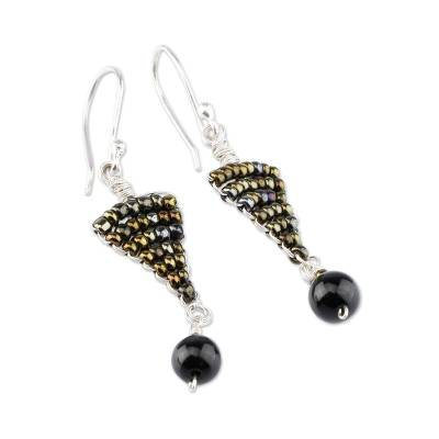 Obsidian dangle earrings, 'Andean Sophistication' - Artisan Crafted Sterling Silver and Obsidian Earrings