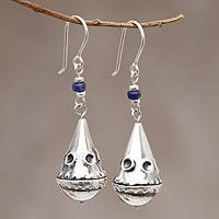 Sodalite dangle earrings, 'Ancestry' - Sterling Silver and Sodalite Earrings Modern Jewelry