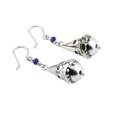 Sodalite dangle earrings, 'Ancestry' - Sterling Silver and Sodalite Earrings Modern Jewelry