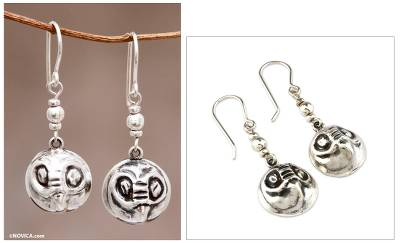 Sterling silver dangle earrings, 'Andean Owls' - Sterling Silver Owl Earrings from Peru Jewelry