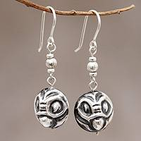 Sterling silver dangle earrings, 'Andean Owl Twins' - Owl Earrings in Sterling Silver from Peru Jewelry