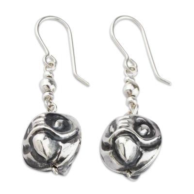 Sterling silver dangle earrings, 'Andean Owl Twins' - Owl Earrings in Sterling Silver from Peru Jewelry