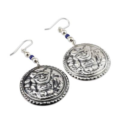 Sodalite dangle earrings, 'Inca Waka' - Artisan Crafted Sterling Silver and Sodalite Earrings