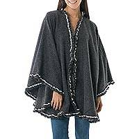 Alpaca blend cape, 'Andean Snow Princess in Grey' - Alpaca Blend Grey Ruana Cape with Crochet Borders