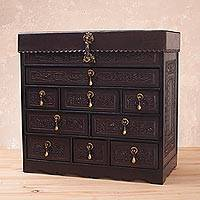 Cedar and leather jewelry box, 'Colonial Damsel' - Cedar and Tooled Leather Jewery Box with 9 Drawers
