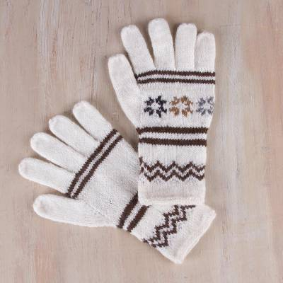 Alpaca blend gloves, 'White Clouds' - Hand Knitted White Alpaca Blend Gloves