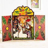 Wood and ceramic nativity scene, 'An Andean Christmas'