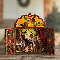 Wood and ceramic nativity scene, 'First Christmas' - Handcrafted Peruvian Wooden Nativity Scene