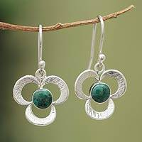 Chrysocolla dangle earrings, 'Andean Clover' - Artisan Crafted Chrysocolla Earrings