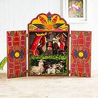 Wood and ceramic nativity scene, 'Christmas in Cuzco'