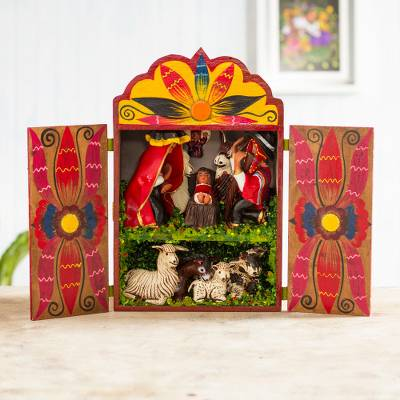 Wood and ceramic nativity scene, 'Christmas in Cuzco' - Wood and ceramic nativity scene