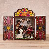 Wood and ceramic nativity scene, 'Birth in the Andes' - Handmade Traditional Andean Nativity Scene Retablo Diorama