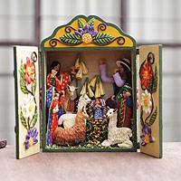 Wood and ceramic nativity scene, 'Christmas Fiesta' - Peruvian Artisan Multi-color Nativity Retablo