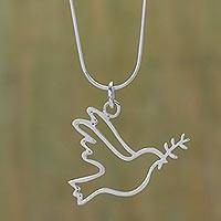 Sterling silver pendant necklace, 'Quechua Dove' - Sterling Silver Peace Theme Necklace