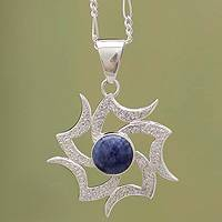 Sodalite pendant necklace, 'Solar Wind'