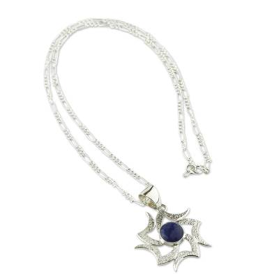 Sodalite pendant necklace, 'Solar Wind' - Handcrafted Sodalite and Silver Necklace