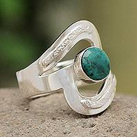 Chrysocolla cocktail ring, 'Teal Embrace' - Artisan Crafted Chrysocolla Cocktail Ring