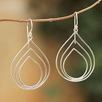 Sterling silver dangle earrings, 'Raindrop Echo' - Modern Sterling Silver Earrings