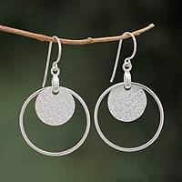 Sterling silver dangle earrings, 'Union of Circles' - Handmade Modern 925 Silver Dangle Earrings