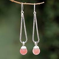 Quartz dangle earrings, 'Cherry Drop Twist' - Cherry Quartz and 925 Silver Dangle Earrings