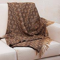 Throw blanket, 'Hypnotic Brown' - Peruvian Throw with Brown and Beige Diamonds
