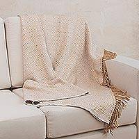 Throw blanket, 'Concentric White' - Alpaca Blend Throw with Beige and White Rhombuses