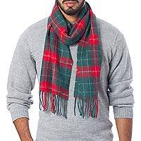 Men's 100% alpaca scarf, 'Festive' - Men's Red and Green Alpaca Wool Scarf from the Andes