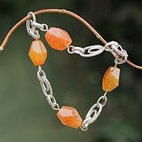 Agate link bracelet, 'Sunset Glow' - Artisan Made Orange Agate Link Bracelet