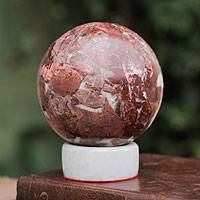 Garnet sphere, 'Romance' - Garnet Sphere Sculpture with Calcite Stand