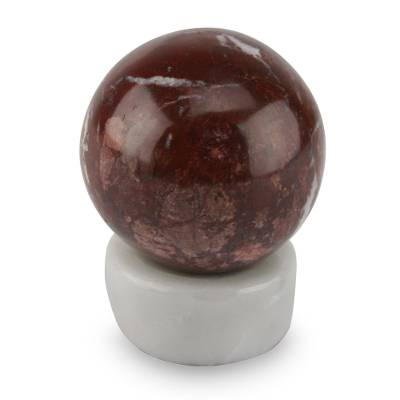 Garnet sphere, 'Passion' - Artisan Crafted Garnet Sphere Sculpture with Calcite Stand