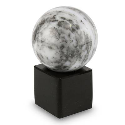 Onyx sphere, 'Visions' - Handcrafted Onyx Globe Sculpture and Base from Peru