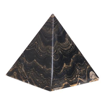 Stromatolite pyramid, 'Life's Essence' - Natural Gemstone Pyramid Stromatolite Fossil Sculpture