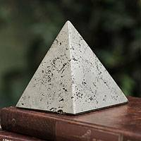 Pyrite sculpture, 'Pyramid of Prosperity' - Small Pyrite Pyramid Sculpture