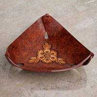 Leather catchall, 'Brown Sunflower Charm' - Artisan Crafted Brown Leather Sunflower Catchall from Peru