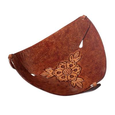 Artisan Crafted Brown Leather Sunflower Catchall from Peru
