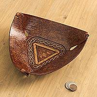 Leather catchall, 'Brown Pyramid Chains' - Artisan Crafted Colonial Inspired Tooled Leather Catchall