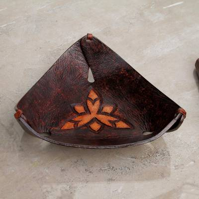 Leather catchall, 'Caramel Pyramid Tattoo' - Artisan Crafted Dark Brown Leather Catchall from Peru