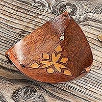 Leather catchall, 'Honey Pyramid Tattoo' - Leather Triangular Catchall Artisan Crafted in Peru