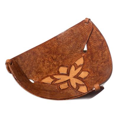 Leather Triangular Catchall Artisan Crafted in Peru