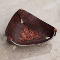 Leather catchall, 'Sunflower Charm in Caramel Brown'