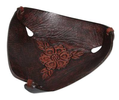 Leather catchall, 'Sunflower Charm in Caramel Brown' - Leather Catchall in Caramel Brown Artisan Crafted in Peru
