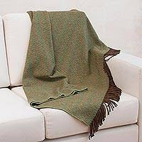 Throw blanket, 'Forest' - Handcrafted Peruvian Alpaca Wool Throw